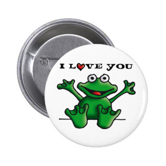 love heart frog 6 cm round badge