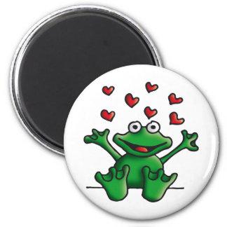 love heart frog 6 cm round magnet
