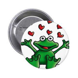 love heart frog anstecknadelbutton