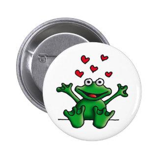 love heart frog anstecknadelbuttons