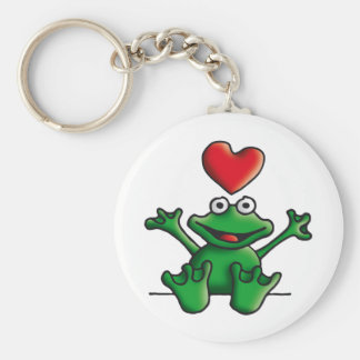 love heart frog basic round button key ring