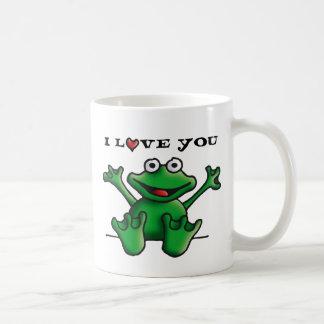 love heart frog basic white mug