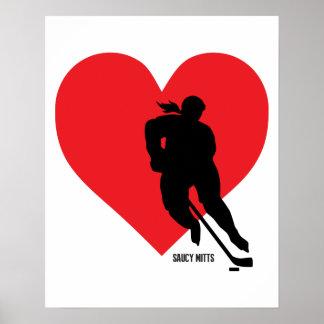 Love Heart Hockey Womens Girls Poster