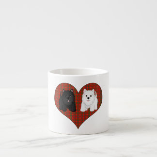 Love Heart in Plaid with Cute Cartoon Scottie Dogs Espresso Cup