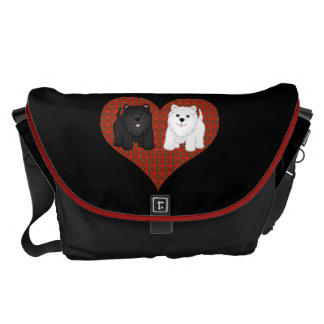 Love Heart in Plaid with Cute Cartoon Scottie Dogs Messenger Bags