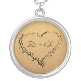 Love Heart in the Sand Personalized Monograms Silver Plated Necklace
