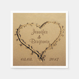 Love Heart in the Sand Personalized Names Wedding Disposable Napkin