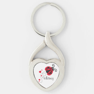 Love heart ladybug named key ring