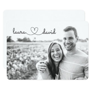 Love Heart Modern Black & White Save the Date Card