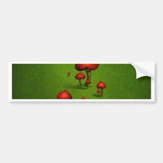Love (heart) mushrooms on green background bumper sticker