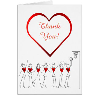 Love Heart Netball Thank You Card