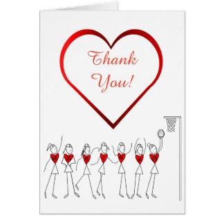 Love Heart Netball Thank You Card