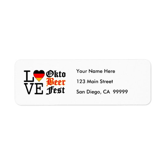 Love Heart Oktobeer fest Return Address Label