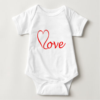 Love heart on white background baby bodysuit