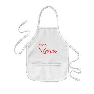 Love heart on white background kids apron