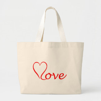 Love heart on white background large tote bag
