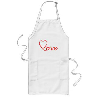 Love heart on white background long apron
