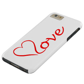 Love heart on white background tough iPhone 6 plus case