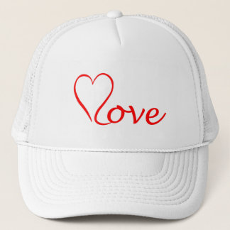 Love heart on white background trucker hat