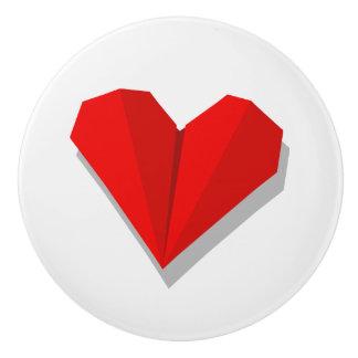 Love Heart Origami Illustration Ceramic Knob