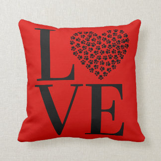 Love Heart Pet Dog Cat Accent Pillow Names On Back