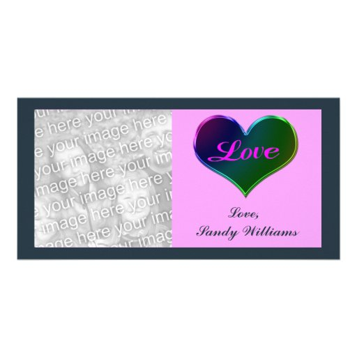 Love heart personalized photo card