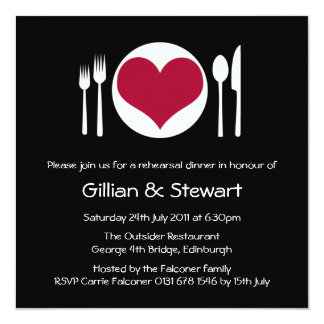Love Heart Plate Rehearsal Dinner Invitation - Red