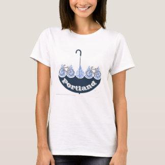 Love Heart  Portland Blue Umbrella Bicycle T-shirt