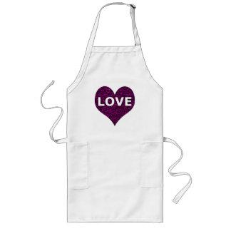Love Heart Purple Chrome Long Apron