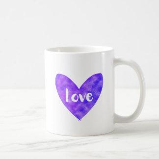 Love Heart Purple Watercolour Mug