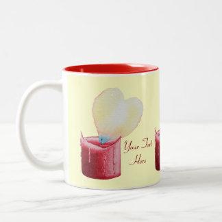 love heart red candle burning flame art design Two-Tone coffee mug