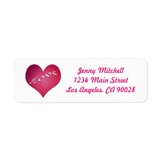 Love heart return address label