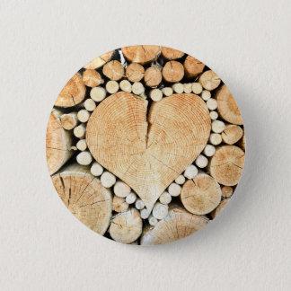 Love, heart, romance, wood mosaic 6 cm round badge