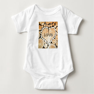 Love, heart, romance, wood mosaic baby bodysuit