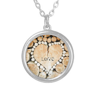Love, heart, romance, wood mosaic silver plated necklace