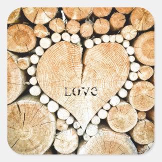 Love, heart, romance, wood mosaic square sticker
