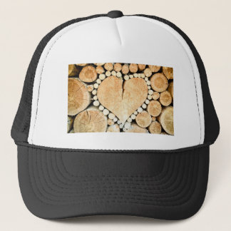 Love, heart, romance, wood mosaic trucker hat