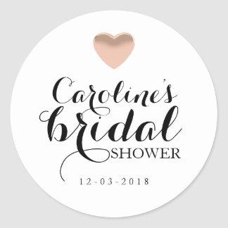 Love Heart Rose Gold Bridal Shower Sticker