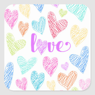 Love Heart Scribbles Valentine's Stickers