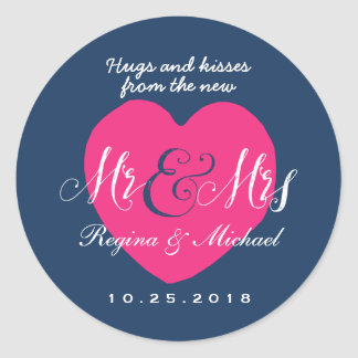 Love Heart Script Mr and Mrs Wedding Favor Sticker