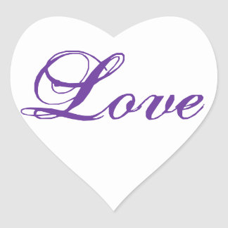 Love Heart Shape Stickers for Weddings Purple