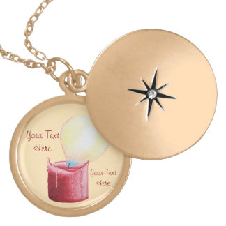 love heart shaped flame red candle gift round locket necklace