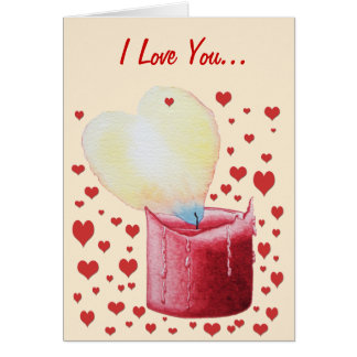 love heart shaped flame red candle illustration greeting card