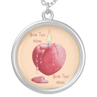 love heart shaped flame red candle illustration round pendant necklace