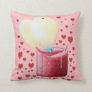 love heart shaped flame red candle illustration throw cushions