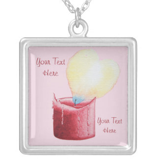 love heart shaped flame red candle pendant gift