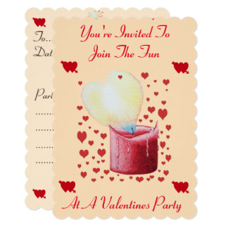 love heart shaped flame red candle valentines 13 cm x 18 cm invitation card