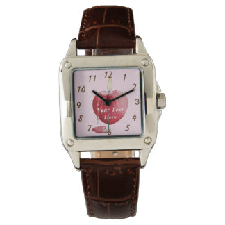 love heart shaped red candle original art watches