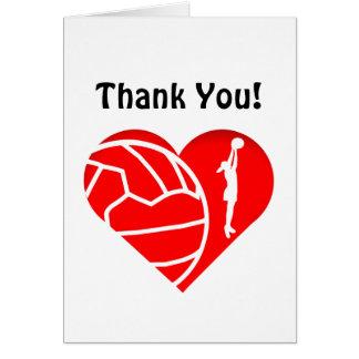 Love Heart Silhouette Netball Thank You Card