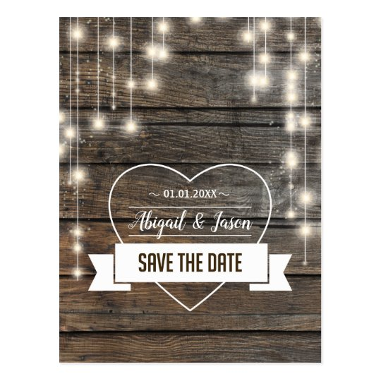 Love heart String of lights Save The Date Postcard